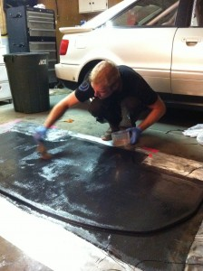 Laying down carbon over our Home Depot foam core